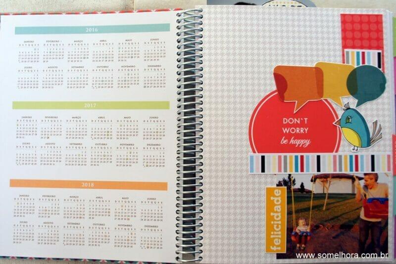calendário e capa decorada do planner