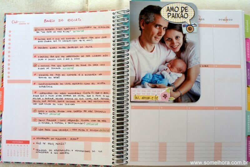 exemplo de divisória de scrapbook para planner