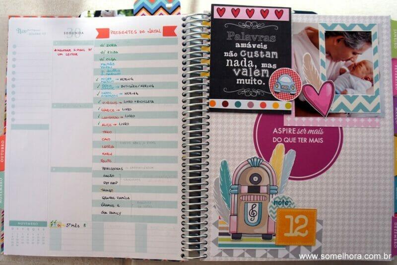 capa do mês do planner decorado com técnica de scrapbook