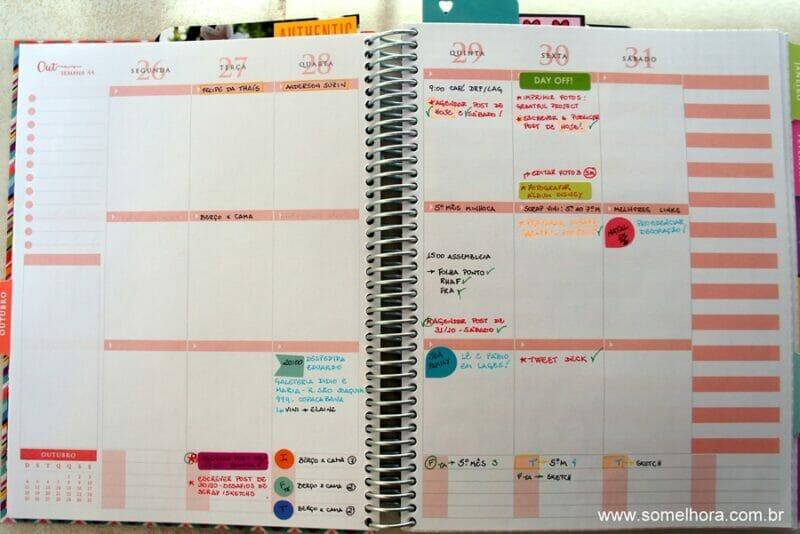 exemplo da agenda semanal do planner