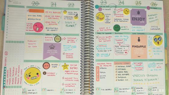 agenda semanal decorada com adesivos