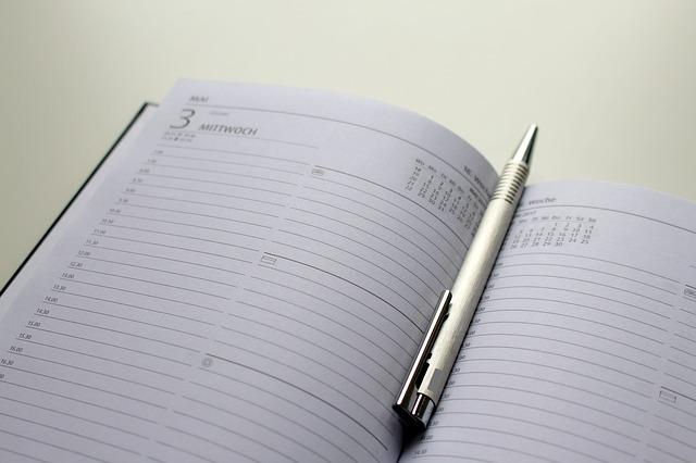 organização do tempo com agenda