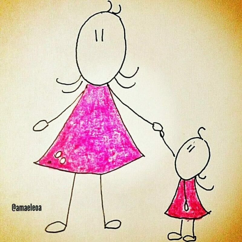 mãe e filha agradecendo