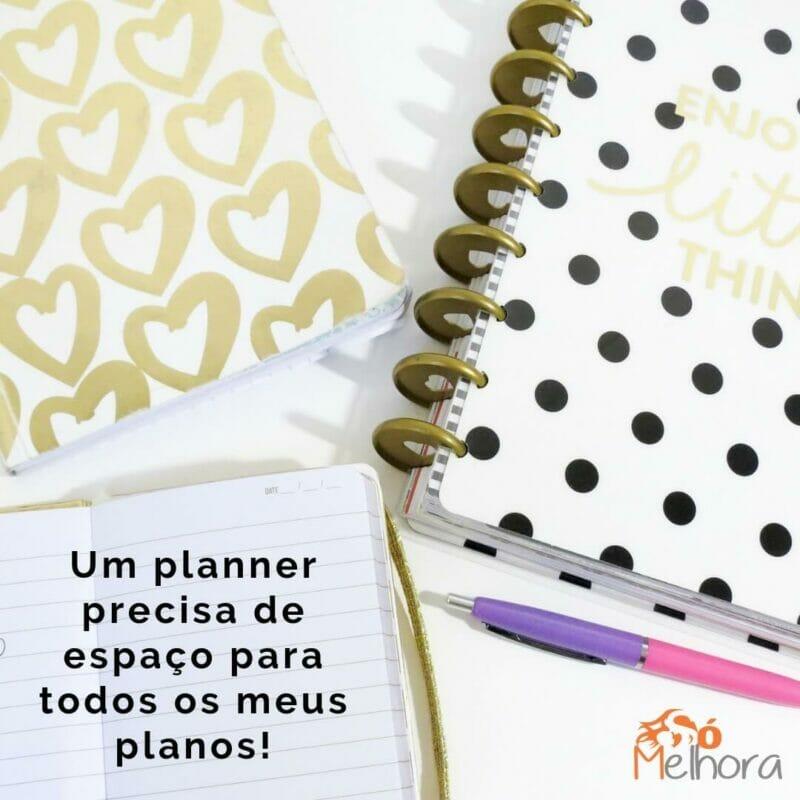 imagem de um planner organizer com a frase: um planner precisa de espaço para todos os meus planos