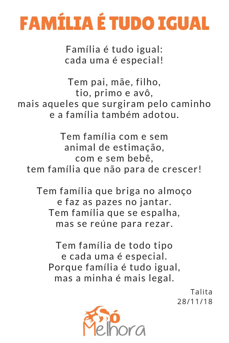 Íntegra da poesia sobre minha família