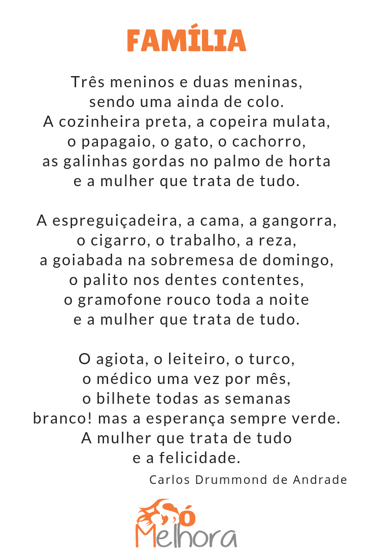 íntegra do poema sobre família de carlos drummond de andrade