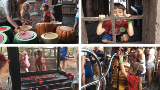 Imagens da fila interativa do brinquedo do Ursinho Pooh - roteiro magic kingdom com criança