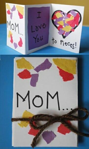 imagem de um cartão para mamães feito com colagem de papel colorido, inspiração de cartão para mãe