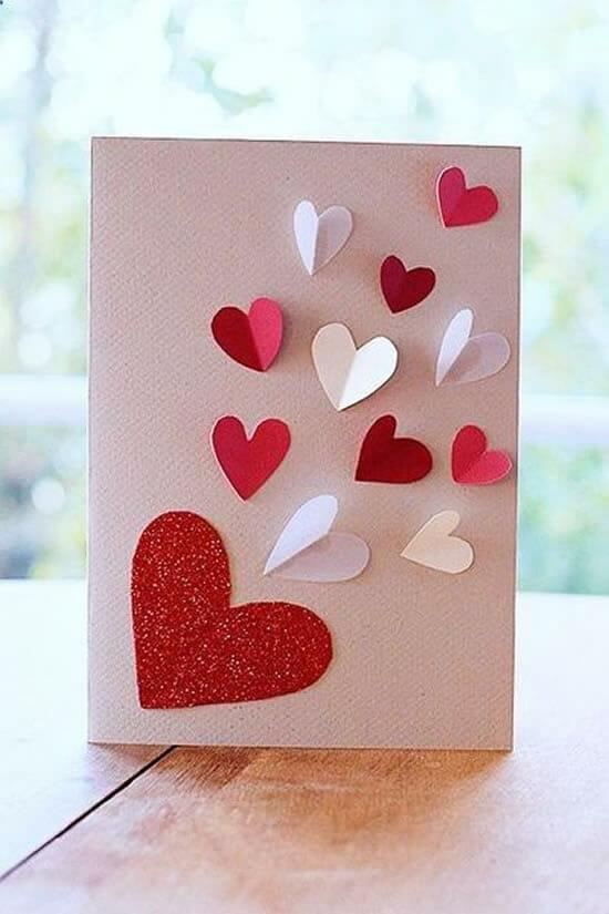 imagem de cartão com corações, mais uma inspiração de cartao para o dia das mae