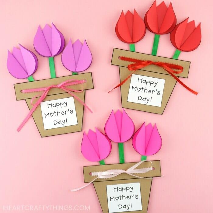 cartão de vaso de flores de papel, exemplo de cartão para a mãe