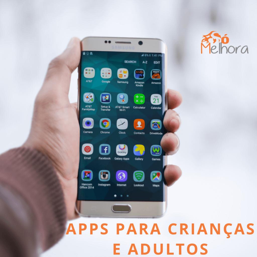 imagem da tela de um celular com vários aplicativos para crianças e adultos