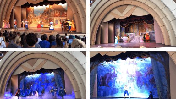 várias cenas do teatro da Bela e a Fera