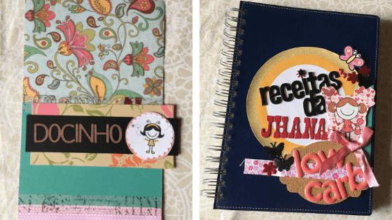 imagens da capa e do interior de um caderno de receitas personalizado