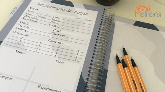 página de planejamento de viagem do planner masculino 2019