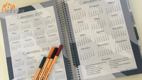 imagens dos calendários anuais de um planner masculino