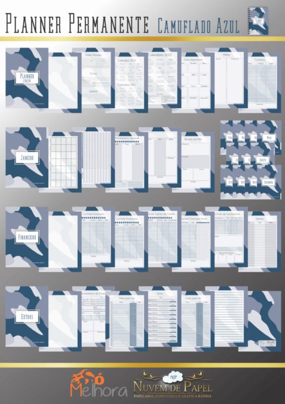 páginas internas do planner camuflado azul