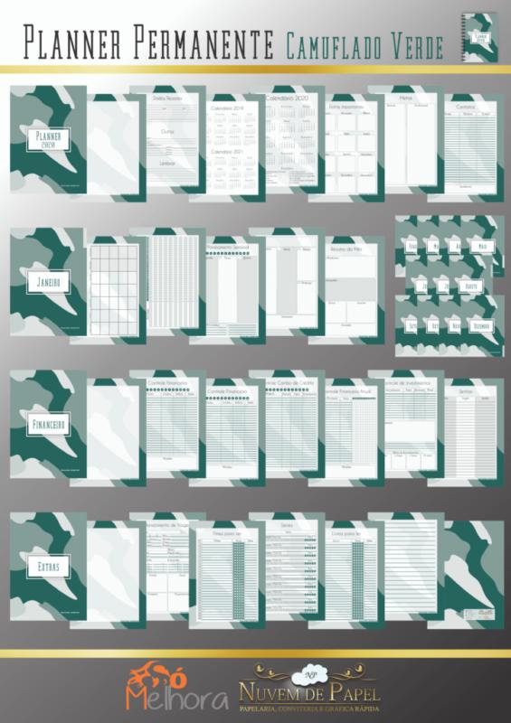 páginas internas do planner camuflado verde