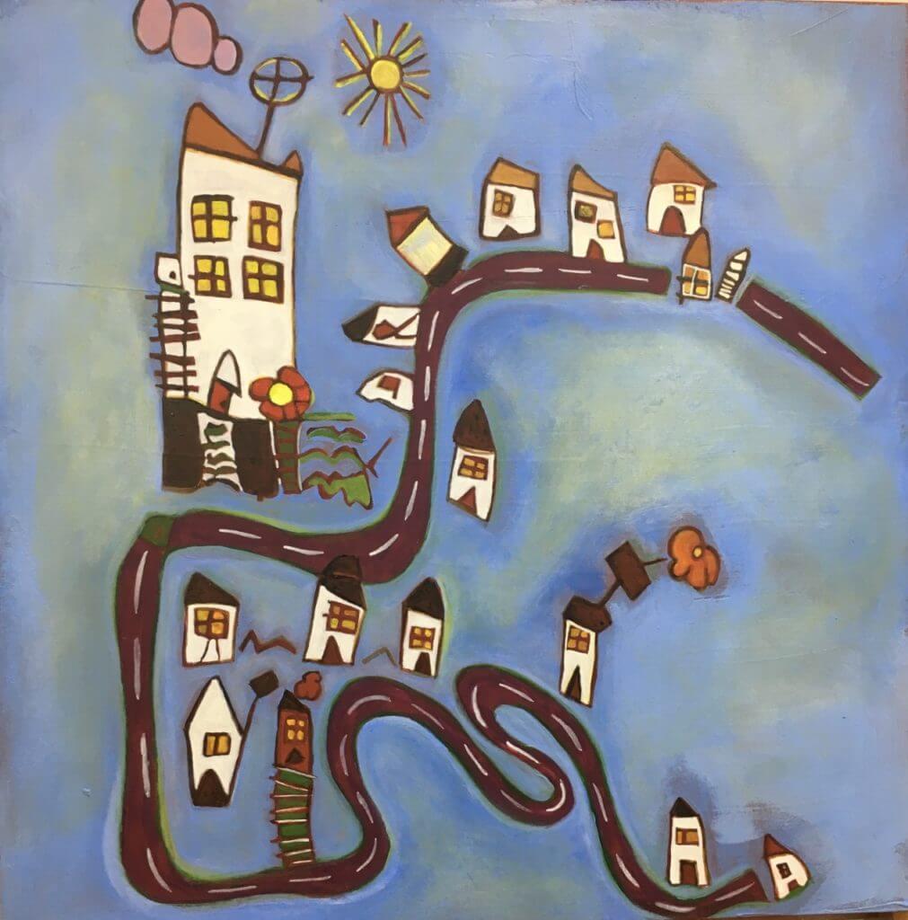 imagem de um quadro feito a partir de desenhos dos netos
