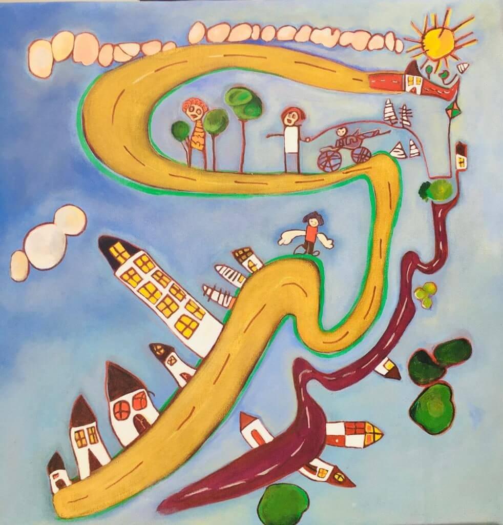 exemplo de quadro feito a partir de desenhos dos netos