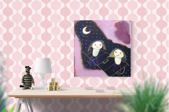 imagem de um quarto infantil com desenhos dos netos