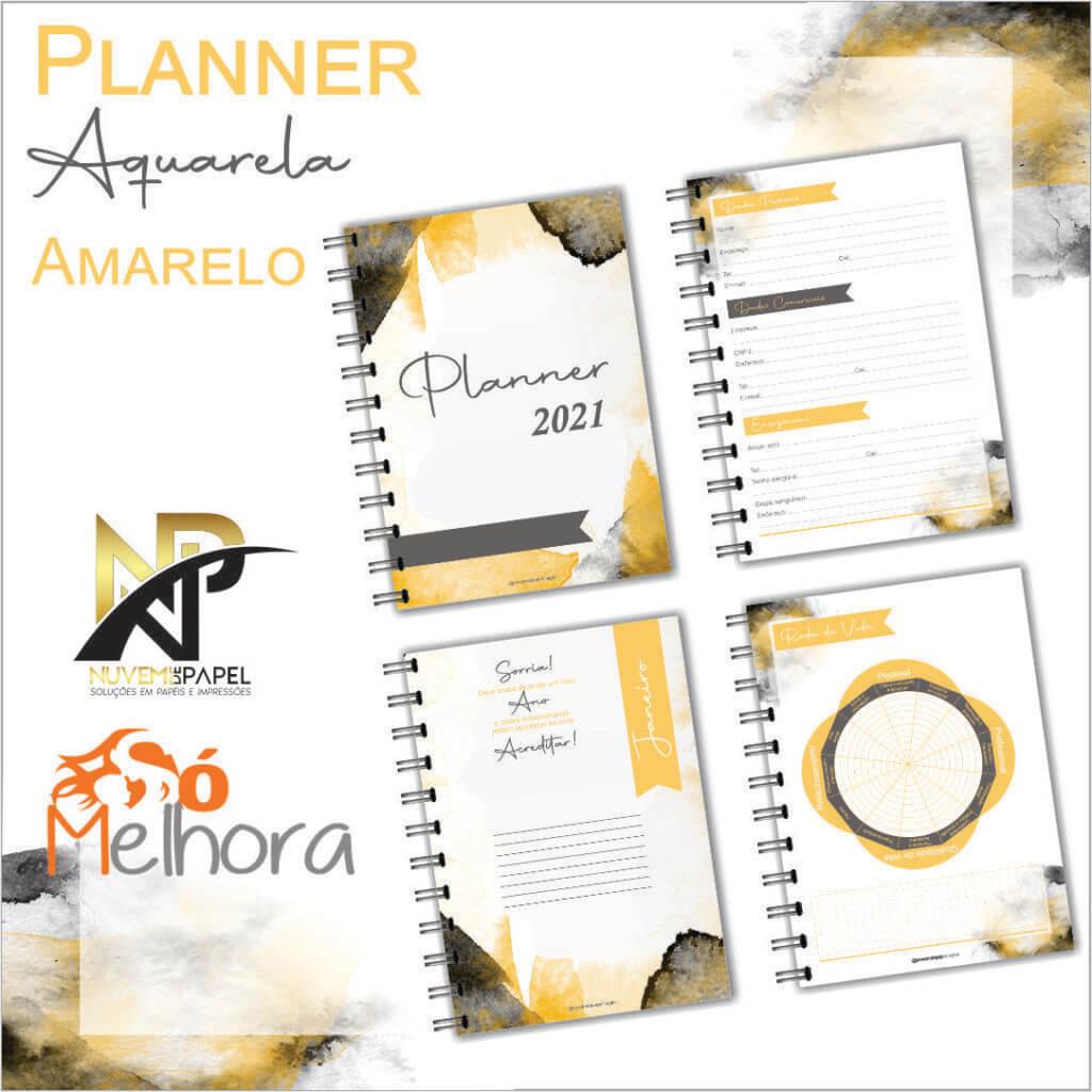 imagem de páginas internas do planner 2021 aquarela amarelo