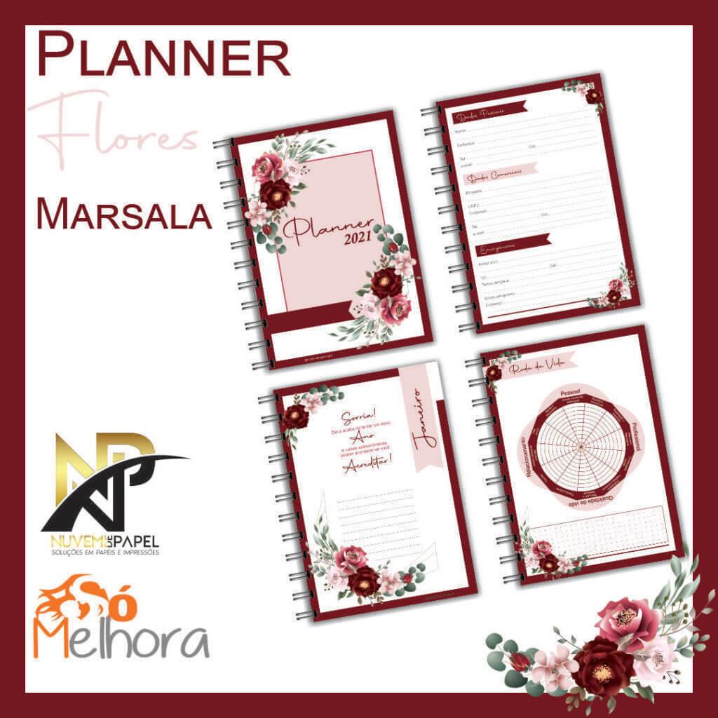 imagens das páginas internas do planner 2021 flores marsala
