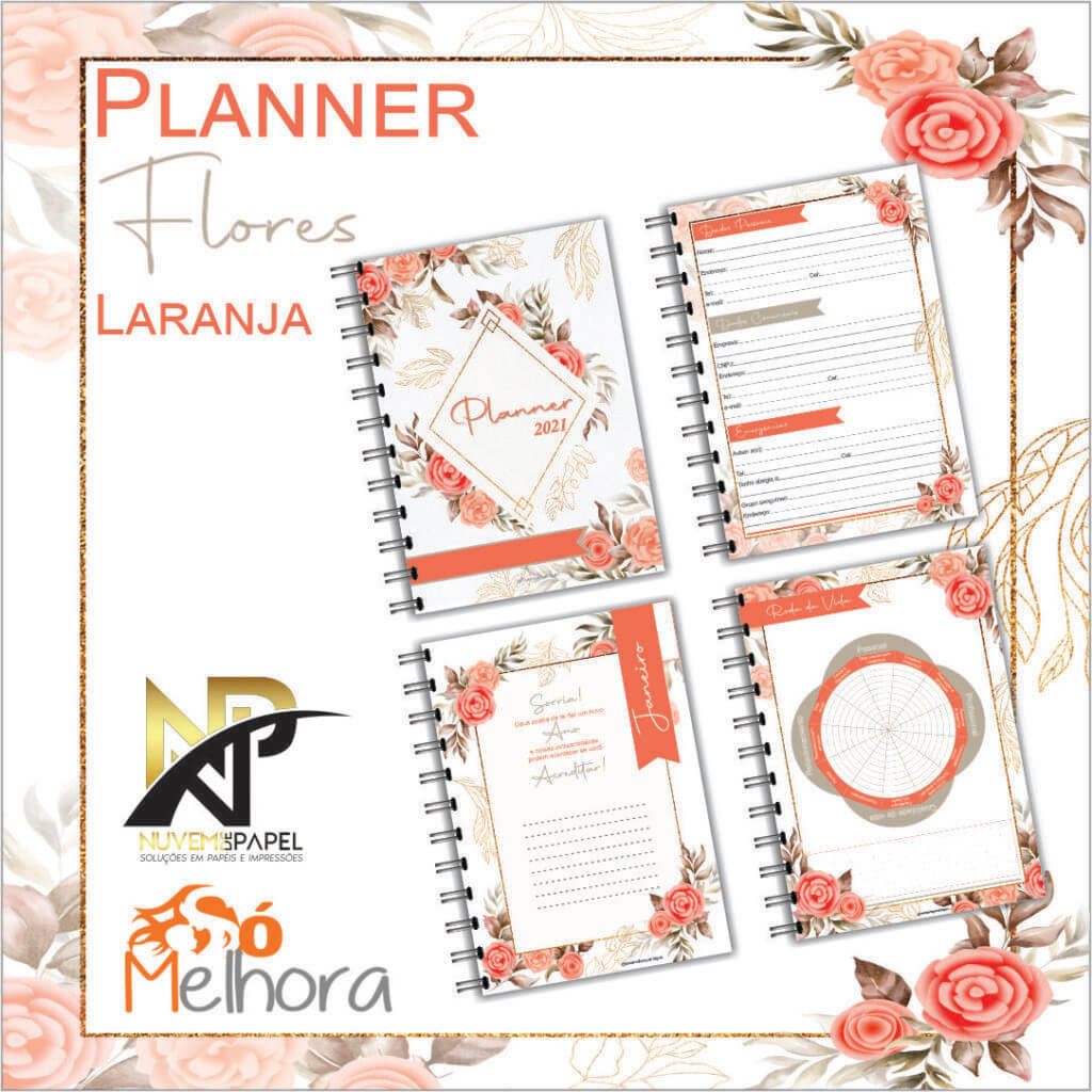 imagens das páginas internas do planner 2021 flores laranja