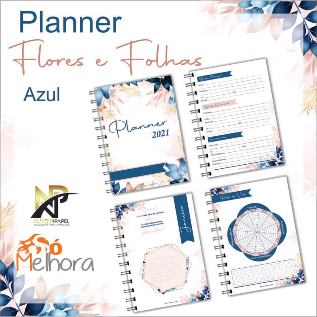 imagens das páginas internas do planner 2021 folhas azul