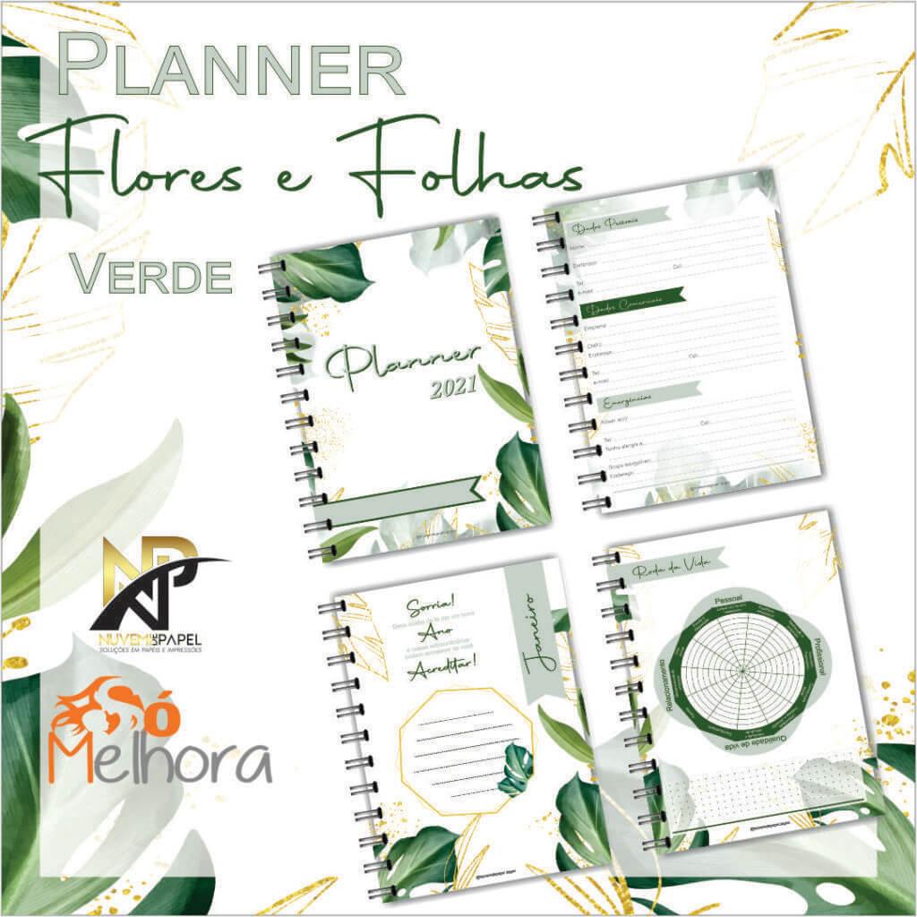imagens das páginas internas do planner 2021 folhas verde