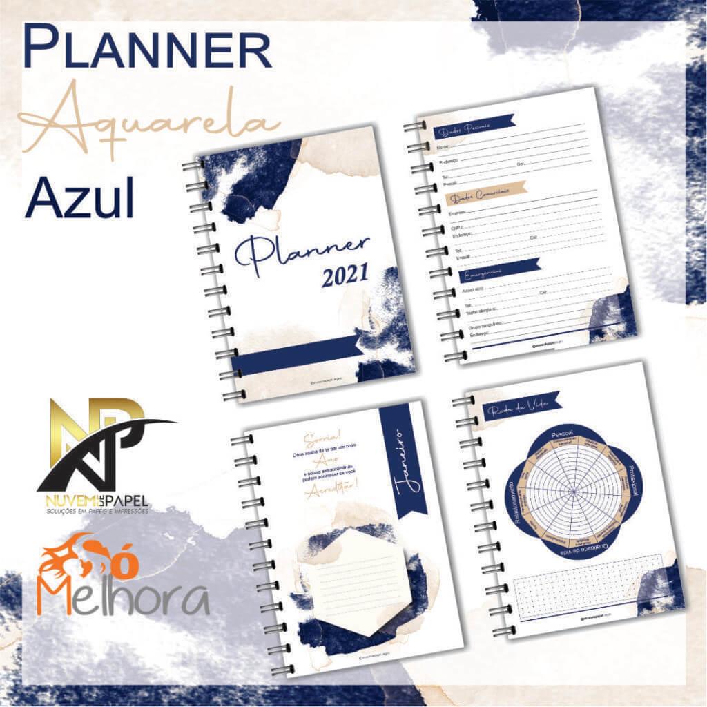 imagem de páginas internas do planner 2021 aquarela azul
