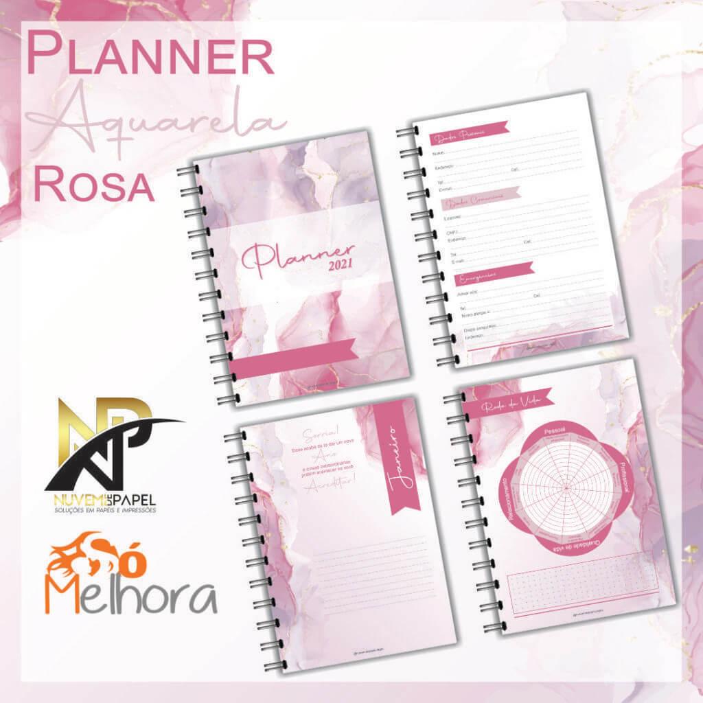 imagem de páginas internas do planner 2021 aquarela rosa