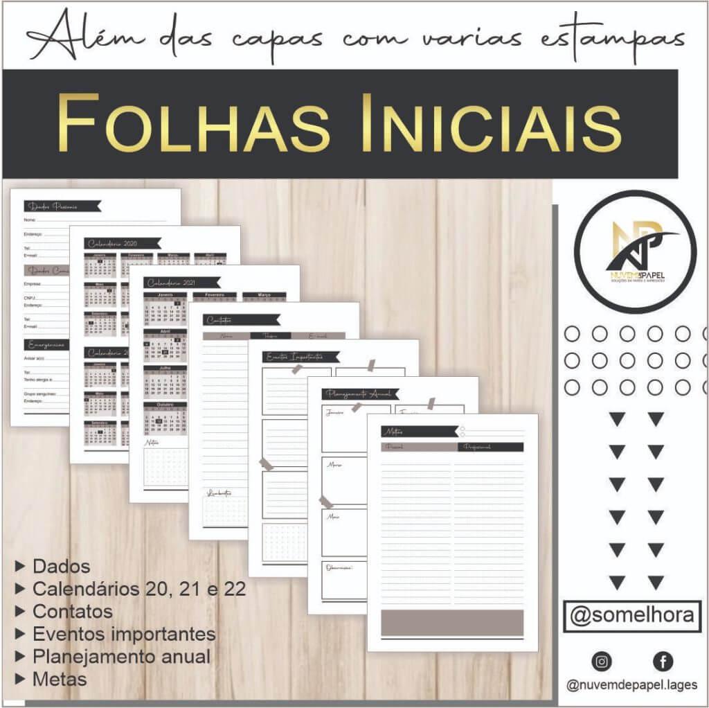 folhas iniciais do planner em PDF