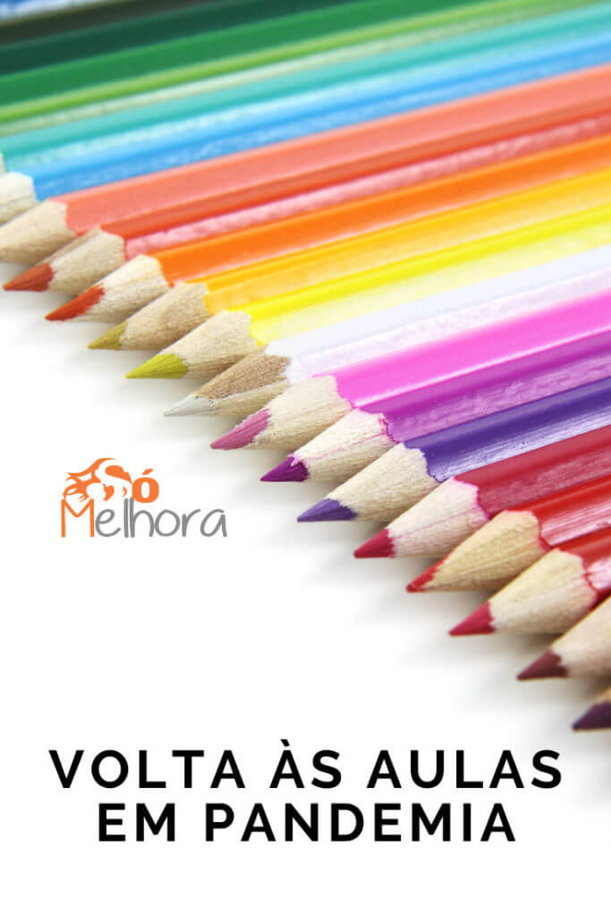 Imagem de lápis de cora com a frase volta às aulas em pandemia