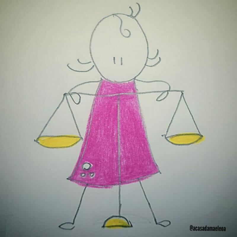 imagem de uma mãe tentando se equilibrar