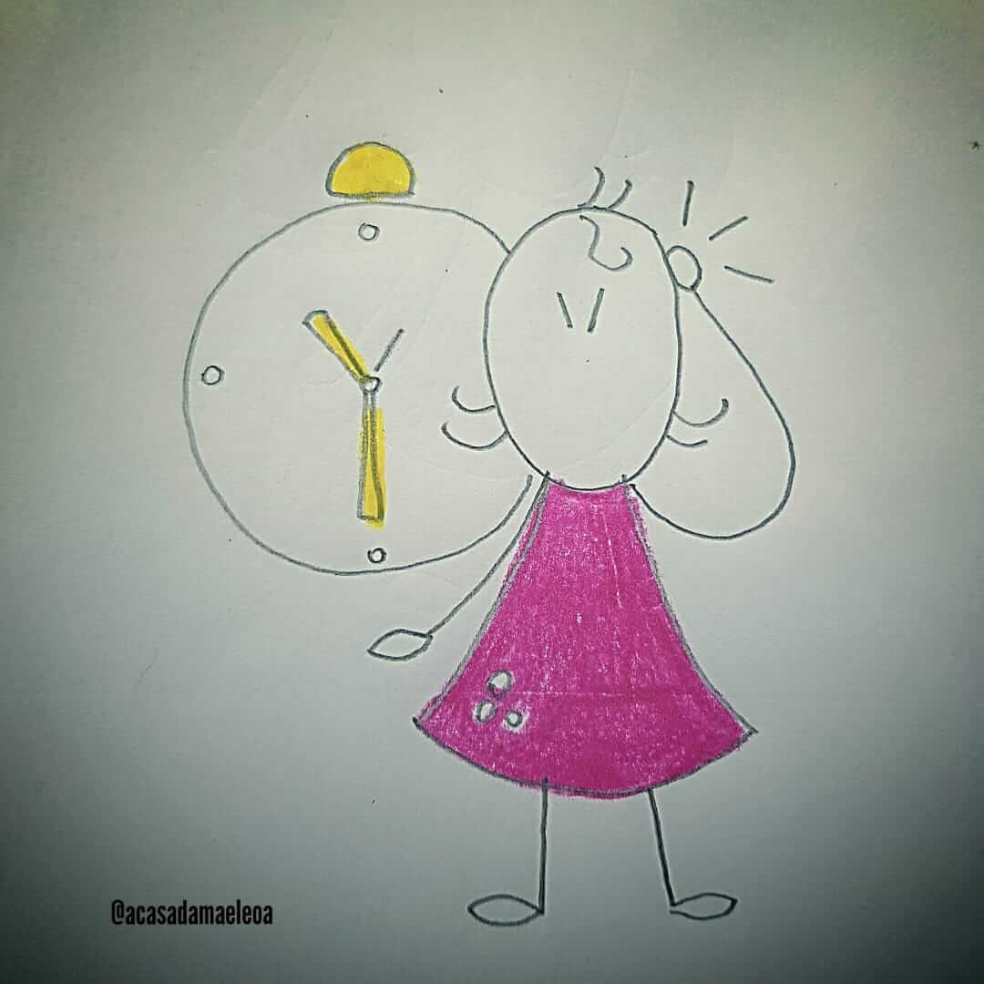 imagem de uma mãe com relógio