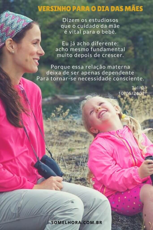 imagem de mãe e filha com versinhos para o dia das mães